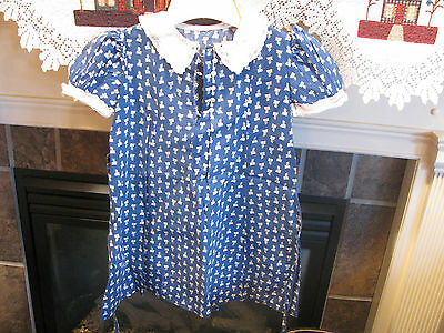 Vintage Girl's Handcrafted Navy & Pink Floral Print Dress w/ White Collar