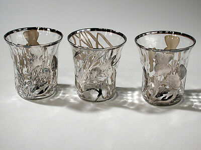 3 Antique Irish Whiskey Blown Glass Sterling Overlay Thistle Design Tumblers