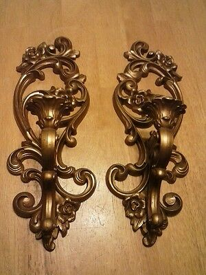 Pair Of Vintage  Home Interiors / Homco Gold Syroco Wall Sconces #4118