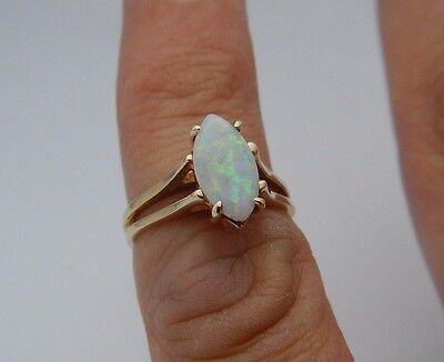 Antique 1ct Marquise FLASH Opal 10k Yellow Gold Solitaire Engagement Ring Estate