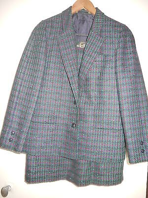 Size 10 Uk Ladies Vintage Multi-Coloured Two Piece Suit By Goldix, 100% New Wool