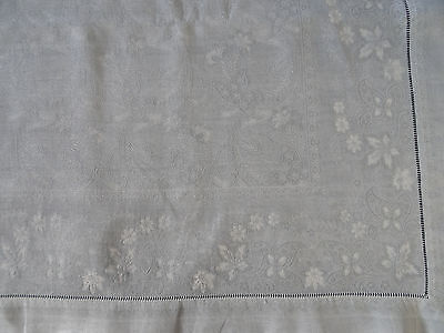 nappe ancienne damassée teint gris perle /Dyied damask grey tablecloth