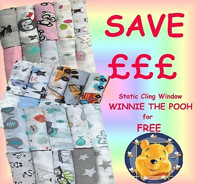 10 Extra Large Baby Muslin Squares 70x80cm 100% Cotton + FREE Static Sun Shade