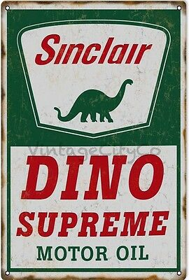 Antique Style Sinclair Dino - Supreme Motor Oil Advertising Metal Sign - Rusted