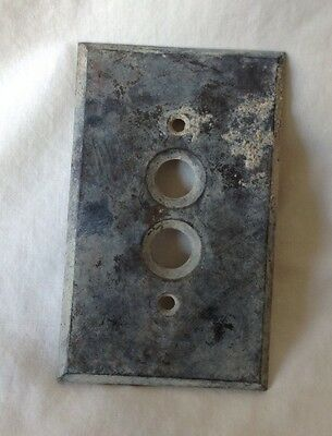 Antique Tarnished Brass Push Button Light Switch Cover Plate heavy Patina