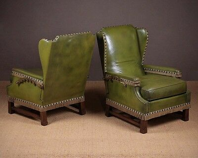 Vintage Pair of Reclining Leather Armchairs c.1920.