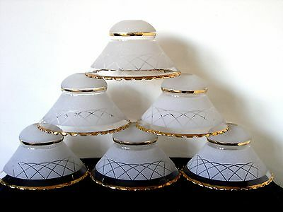 Beautiful Set of 6 Vintage French Etched Gilt Chandelier / Wall Lamp Lampshades