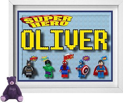 BABY NAME | Personalised Nursery Picture | Lego Superheros | FREE POST | (NP140)