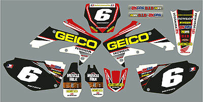 CRF 250 2006-09 Geico style graphic / decal kit Personalised FREE UK SHIPPING
