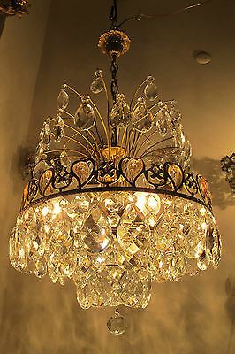 Antique Vnt French HUGE Basket Style Bohemia Crystal Chandelier 1940's 16in dmtr