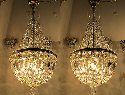 "Pair of Antique Vnt French Basket Style Crystal Chandelier Lamp 1940's 13"" Width"
