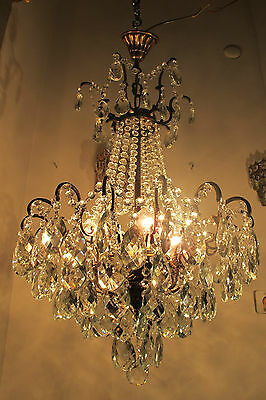 Antique Vnt French HUGE Spider Style Crystal Chandelier Lamp 1940s 18in diametr* • CAD $715.63