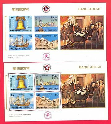 Bangladesh US Bicentennial Statue of Liberty  Imperf +Perf S/S M/S MNH Lot#42068