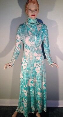 Vintage 60s 70s Pat Richards Maxi Dress Long Sleeve Abstract Floral Jersey M