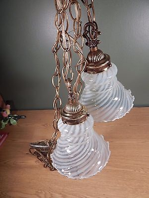 Vintage Antique Double Hanging Light Fixture With Ruffled Opalescent Swirl Shade