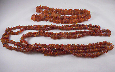 2 X Raw Natural Baltic Amber Necklace. 103 grams