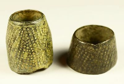 Nice Lot Of 2 Ancient Bronze Thimble Rings - WELL PRESERVED