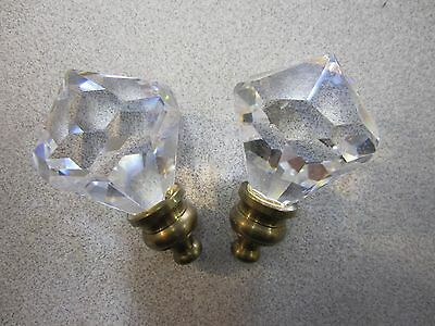 """Pair of Crystal Glass Prism Decorative Knobs 2"""" Tall"""