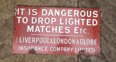 Antique Metal Sign Liverpool London Globe Insurance Fire