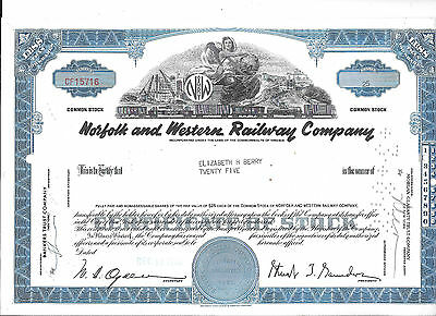 Norfolk And Western Railroad --1960--Stock Certificate
