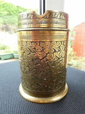 Antique Chinese Brass Tobacco Jar with Ashtray