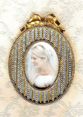 Faberge Gold Plate & Enamel Picture Frame Oval W/ Bow