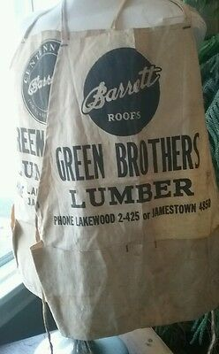 Pair of Vintage Shop Aprons Green Brothers Lumber