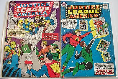 """JUSTICE LEAGUE of AMERICA no.'s 21 and 22. """"Crisis on Earth-One"""" Solid VG+ range"""