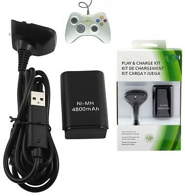 4800mAH Rechargeable Battery Pack for Xbox 360 Wireless Controller Black Dual
