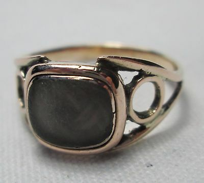 Antique Victorian 9ct Gold Hair Locket Mourning Ring Size K