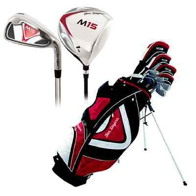 Ben Sayers M15 Golf Package Set LH Red Stand Bag Steel Irons