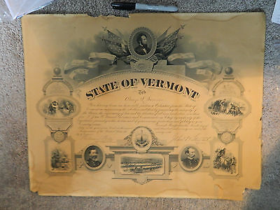 Authentic Civil War Union Soldiers Discharge from State of Vermont