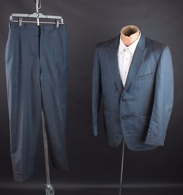 "Vtg 1960s Mens Sharkskin Wool Blend Suit Jacket sz M Pants 30x27"" #1824"