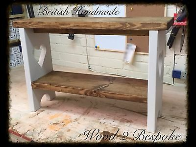 Shabby Chic Or Rustic Bench With Straight Shoe / Shelf
