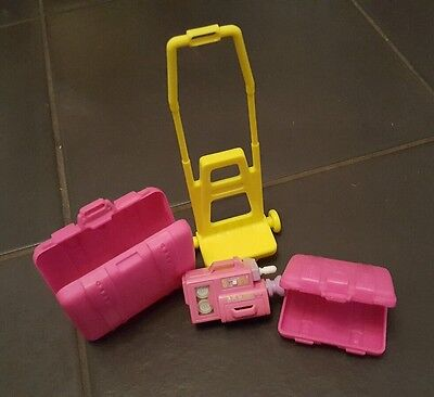 Barbie suitcases luggage trolley and wind up camcorder