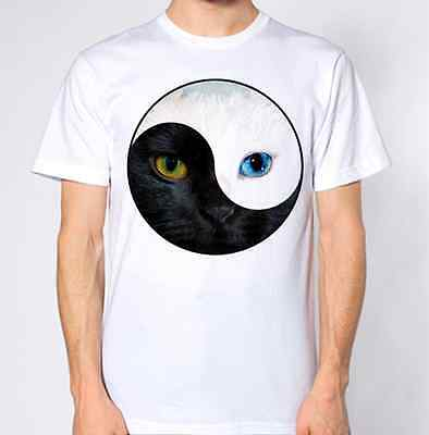 YING YANG T Shirt Hipster Tumblr Hippie Hippy Retro Design Cat Kitten Animal