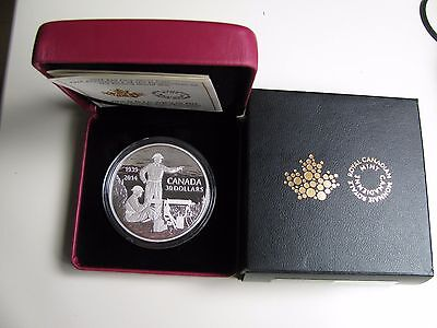 2014 Proof $30 75th Ann WWII Home Front Machine Gunner Training Canada 2oz .9999