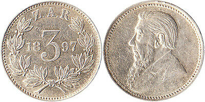 1897 South Africa 3 Pence Silver Coin KM#3 Mintage 201,000