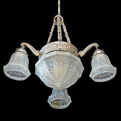 1930 Antique Silver-Plated French Art-Nouveau/Deco Four-Light Chandelier