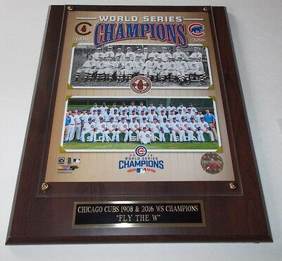 Chicago Cubs 1908 & 2016 World Series Champions *licensed Plaque Ship 2 Day Mail