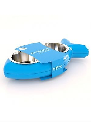 Hing Cat Bowl Fish Twin Stainless Steel Bowls Non Slip Feeding Dish Blue