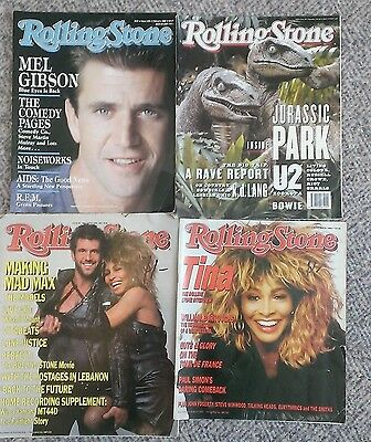 4 x Vintage Rolling Stone Magazines - Mel Gibson, Tina Turner, Mad Max 1980s