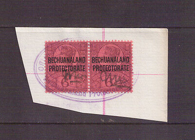 Bechuanaland Revenue - 1897 - SG 65 - Pair Used with Oval Cancel