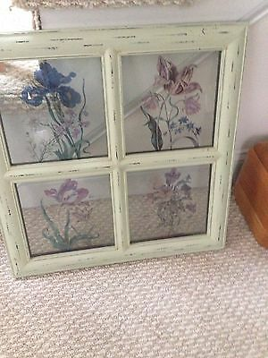 Vintage Gorgeous Stained Glasse Shabby Chick Window Frame