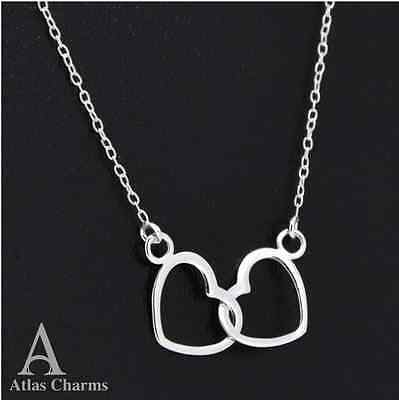 925 Sterling Silver Double Heart Necklace pendant Atlas Charm Jewellery Chain