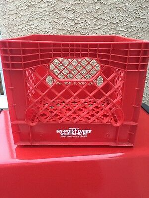 Vintage Hy Point Dairy Farms Red Plastic Milk Crate Four 4 Gallon