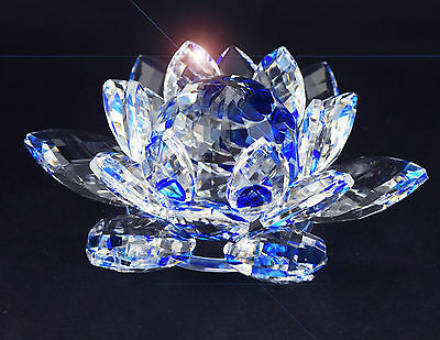 BLUE CRYSTAL LOTUS FLOWER ORNAMENT WITH GIFT BOX  CRYSTOCRAFT CHRISTMAS XMAS 9cm