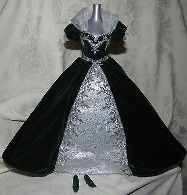 Barbie Gown Dress Millennium Princess Dark Green Silver Lace Fashion For Doll