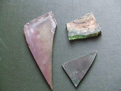 MEDIEVAL BRITAIN.   THREE STAINED GLASS FRAGMENTS.  RARE.  12th/13th CENTURY