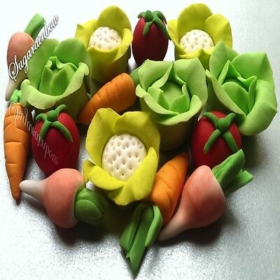 15 Edible Sugar Vegetables Fruits Cake Cupcake Toppers Decorations 3D